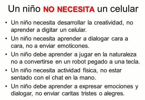 Un niño no necesita un celular